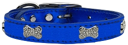 Crystal Bone Genuine Metallic Leather Dog Collar Blue 16